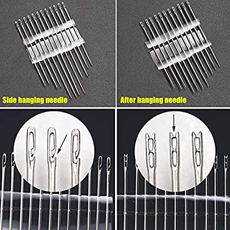Tiakino Self-Threading Needles Set Side Opening Hand Sewing Home Household Tools for Blind Old People