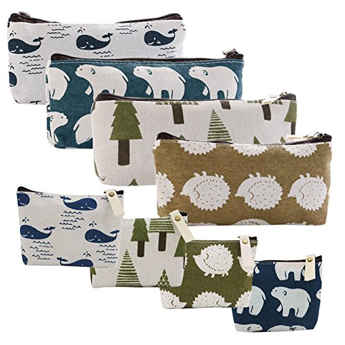 Small Zippered - Selizo 8 Packs Canvas Pencil Pen Zipper Pouch Small Cosmetic Makeup Bags, Forest and Animal Style