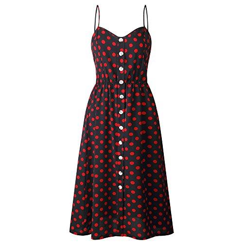 (Lljin Women Sexy Printing Buttons Off Shoulder Sleeveless Dress Princess Dress Red)