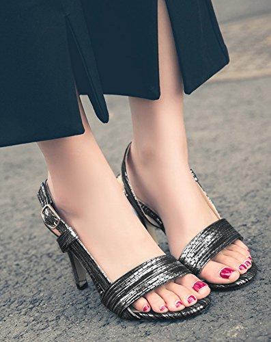 Aisun Donna Open Toe Sandali - Tacco A Spillo Con Fibbia - Tacchi A Spillo Sexy Festa Di Nozze Nero