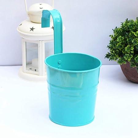 Vosarea Hierro Flor Planta Maceta Colgante Sembradora Tenedor Cubo de metal Interior exterior para jardín Balcón Pared - Azul: Amazon.es: Jardín