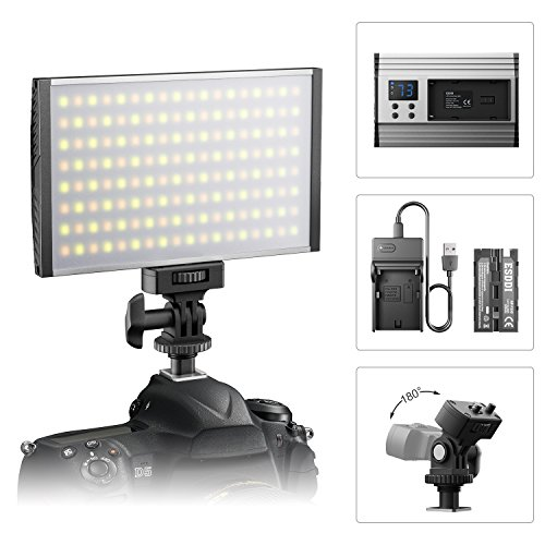 ESDDI LED Camera/Camcorder Video Light Panel for Lighting in Studio or Outdoors, 3200K to 5600K Variable Color Temperature, Ultra Thin Anodized Aluminum Housing for All DSLR Cameras by ESDDI