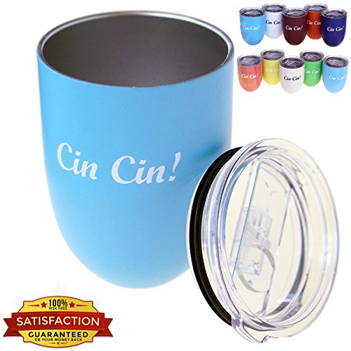 Best Stemless Wine Glasses Colored | Unique Cocktail Glasses Drink Through Spill Resistant Lid | 12oz Break Resistant Outdoor Drinkware | Insulated Stainless Steel Painted Wine Glasses in 10 (Green Cocktail Glasses)