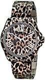 SO & CO New York  Women's 5008.1 SoHo Quartz Animal-Print Stainless Steel Watch with Link Bracelet