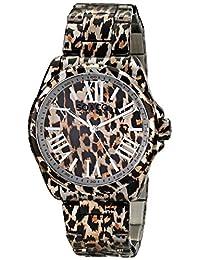 SO & CO New York  Women's 5008.1 SoHo Quartz Animal-Print Stainless Steel Watch with Link Bracelet