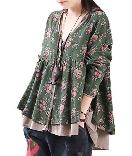 YESNO L14 Women Casual Sweet Floral Shirts Fake Twins Sets 2 Layer 100% Cotton A Swing Skirt High Low Hem Long Sleeve, Green, One Size ()