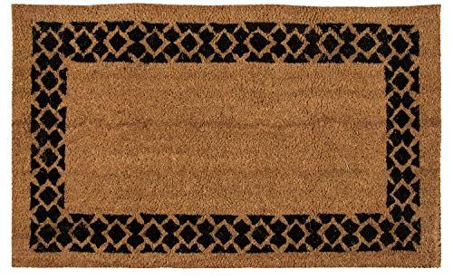 (Juvale Natural Coir Door Mat - All Season Indoor Outdoor Welcome Doormat, Easy Clean, PVC Anti-Slip Backing Front Entry Mats, Geometric Diamond Border Design, Brown, 17.2 x 30 x 0.5)