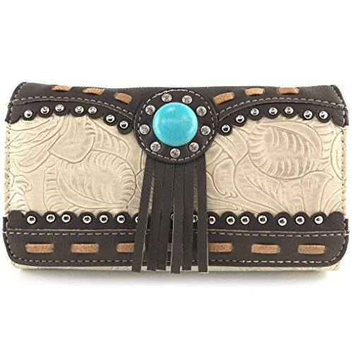 Justin West Tooled Western Leather Turquoise Stone Fringe Studded Shoulder Concealed Carry Handbag Purse (Beige wallet)