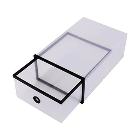 Yosoo - 10 cajas para zapatos transparentes, organizadores dobles plegables de plástico