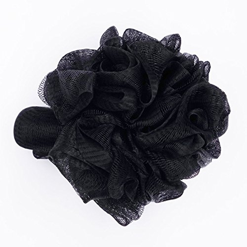 FullGold Bath Rose Flower Style with Hand Loop Shower Sponge Pouf Loofahs Mesh Brush Shower Ball, Large Exfoliating Soft Bath Sponges Loofah Pack of 1 (black)