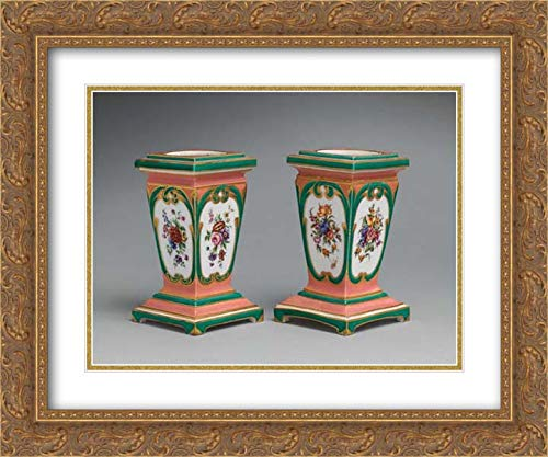 Sevres Manufactory - 24x20 Gold Ornate Frame and Double Matted Museum Art Print - Pedestal vase and Bulb Pot (piedestal en gaine) (one of a Pair)