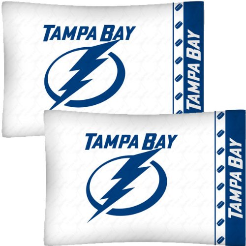 NHL Tampa Bay Lightning Hockey Set of 2 Logo Pillow Cases (Lightning Bedding Tampa Bay)