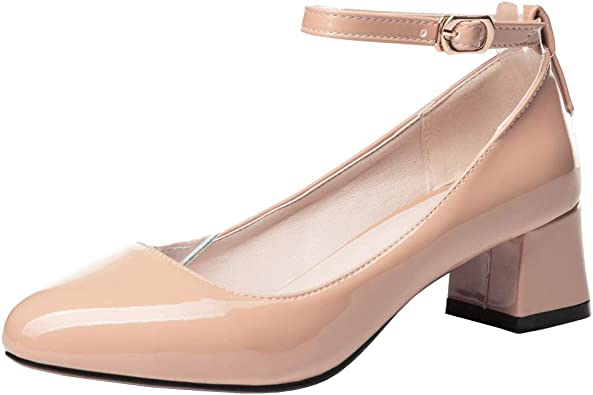 BeiaMina Femmes Mode Bride Cheville Bloc Pompes Chaussures