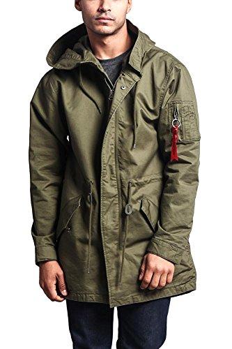 G-Style USA Men's MA-1 Bomber Style Anorak Jacket - JK715 - Olive - 2X-Large - G1G -