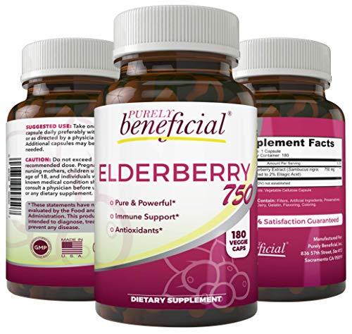 Organic Elderberry Extract (Organic Elderberry 750mg-180 Capsules, Vegetarian/Vegan Sambucas Nigra Natural Immune Support Booster- Gluten Free, Non-GMO- 3 Month Supply)
