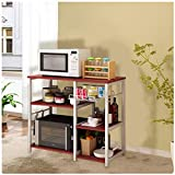 Lavany Vintage Kitchen Bakers Rack Cart,Microwave Oven Stand Metal Frame,Utility Storage Shelf,Storage Cupboard for Spices Utensils Microwave Oven,US STOCK