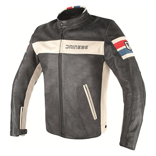 Dainese Stripes (Dainese HF D1 Leather Motorcycle Jacket Black/Ice/Red/Blue 54 Euro/44 USA)
