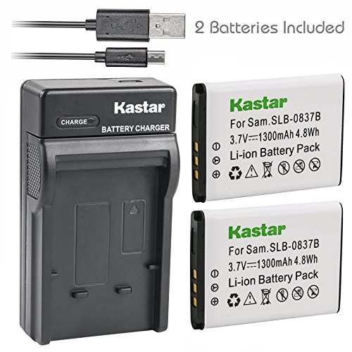 Kastar Battery X2 & Slim USB Charger for Samsung SLB-0837B SLB-0837(B) Samsung Digimax L70 Digimax L83T L85T Samsung Digimax L201 L301 Digimax NV8 Digimax NV10 Digimax NV15 Digimax NV20 Digimax SL201