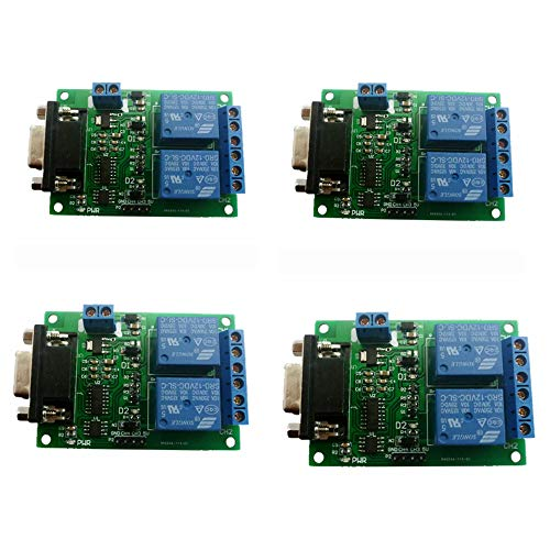 (Eletechsup 2 Channel Serial Port Relay Module DC 12V PC Computer USB RS232 DB9 RS485 UART Remote Control Switch Board for Smart Home (4))