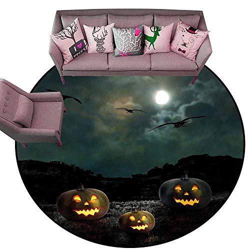 Office Chair Floor Mat Foot Pad Halloween,Yard of an Old House at Night Majestic Moon Sky Creepy Dark Evil Face Pumpkins,Multicolor Diameter 54