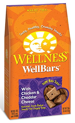 Wellness WellBars Crunchy Wheat Free Natural Dog Treats, Chicken & Cheddar, 20-Ounce Box