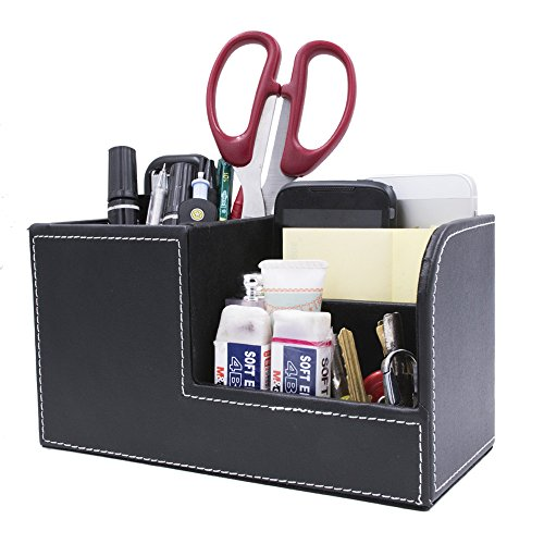 Behomy PU Leather Muti-Function Desk Organizer, Desk Stationery Organizer, Office Storage Compartments Box for Pen, Pencil, Name Cards, Phone, Key, Pocket Money (Small)