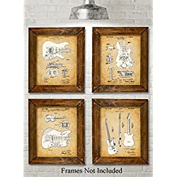 Original Fender Guitars Patent Art Prints - Set of Four Photos (8x10) Unframed - Great Gift for Electric Guitar Players