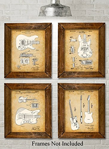 Original Fender Guitars Patent Art Prints - Set of Four Photos (8x10) Unframed - Makes a Great Gift Under $20 for Electric Guitar Players
