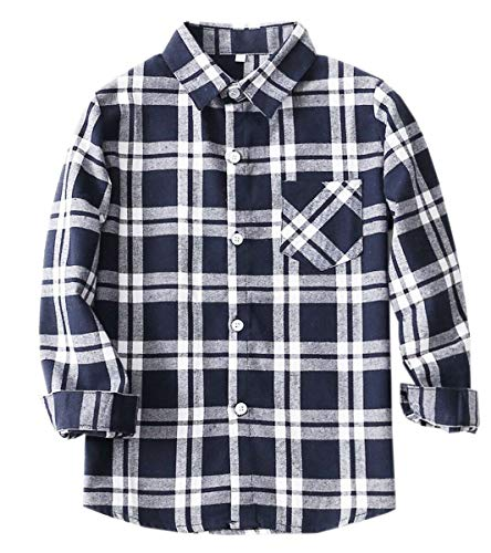 Kids Long Sleeves Button Down Flannel Cotton Plaid Shirt Tops for Toddlers and Little Boys, Navy ()