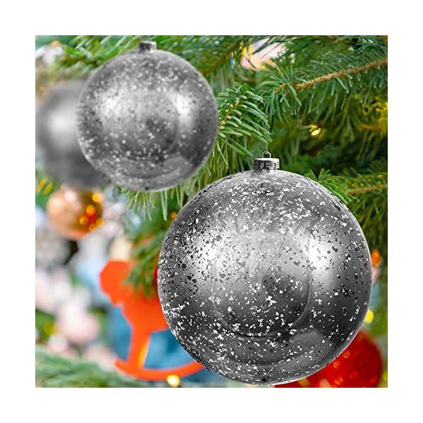 Palline di Natale Grandi Argento - Palline di Natale Argento da 19,5cm con Corda - Addobbi Natalizi Palle di Natale Argento - Palline di Natale Grandi in Plastica- Decorazioni Albero di Natale Argento 6 spesavip