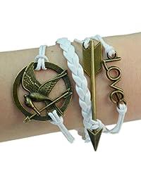 Fashion Vintage Game Birds Mockingjay Bronze Bracelet Leather