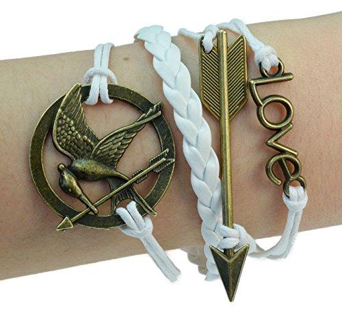 Fashion Vintage Game Birds Mockingjay Bronze Bracelet Leather (Hunger Games Costumes For Girls)