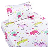 J-pinno Animals Frog Zebra Crocodile Elephant Twin Sheet Set for Kids Girl Children,100% Cotton, Flat Sheet + Fitted Sheet + Pillowcase Bedding Set