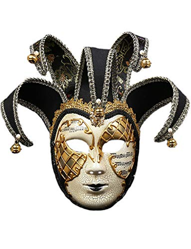 (DGMJDFKDRFU Vintage Full Face Clown Mask Adult Funny Mardi Gras Mask for)