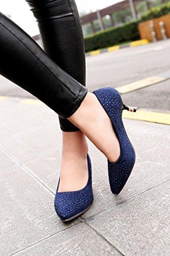 Blue Womens Heel Suede Faux Pumps Dress Kitten Foot Charm 4qR181