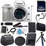 Canon EOS M6 Mirrorless Digital Camera (Silver) 1725C001 (International Model) + LP-E17 Replacement Lithium Ion Battery + 128GB SDXC Class 10 Memory Card + SD Card USB Reader Bundle