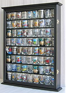 Large 72 Shot Glass / Shooter Display Case Cabinet Rack Holder Wall Curio  Cabinet, Mirror