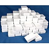 100 White Swirl Cotton Boxes Charm Jewelry Gift Display