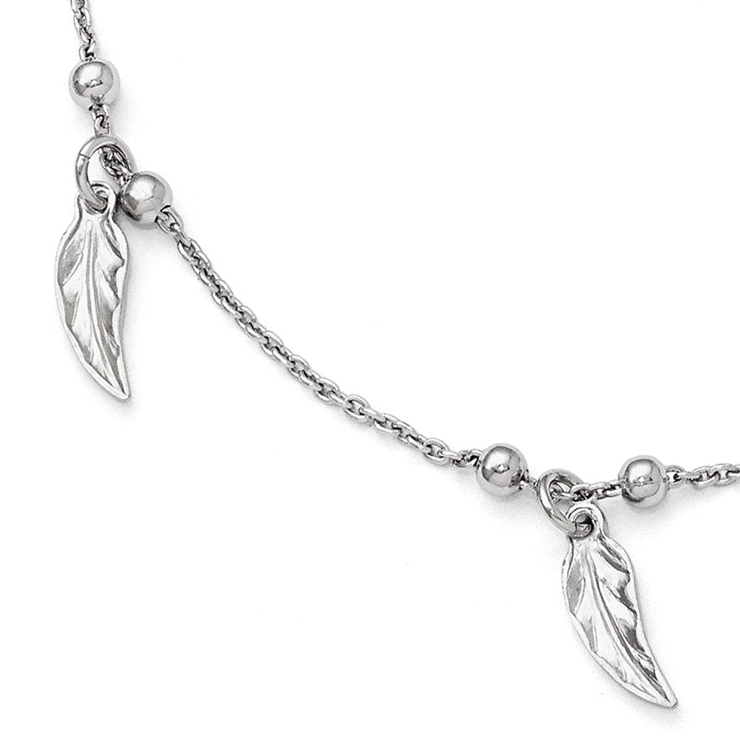hot Perfect Jewelry Gift Leslie's Sterling Silver Polished Feather Anklet w/1in ext hot sale