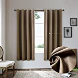 Cheap Nicasso Natural All Blackout Vertical Stripe Grommet Single Curtain Panel Thermal Insulated Solid Window Drapery(Chocolate,W52 x L63)