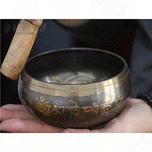 SlimArmor(TM) 1 set Copper Sound Bowl Alms Bowl Yoga Chinese Tibetan Me dita tion Singing Bowl With Hand Stick Metal Crafts [8cm - Dita Shop