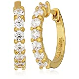 18K Yellow Gold Plated Sterling Silver Cubic Zirconia Huggie Hoop Earrings