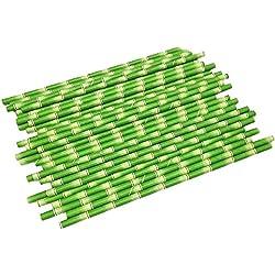 bjduck99 25Pcs/Set Bamboo Paper Drinking Straws Wedding Birthday Party Decoration Favors - Green