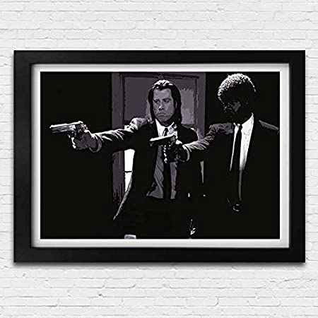 Pulp fiction movie vintage retro style poster print black white framed art picture small large
