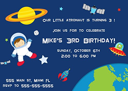 30 Invitations Space Astronaut Boy Birthday Personalized Cards Photo Paper
