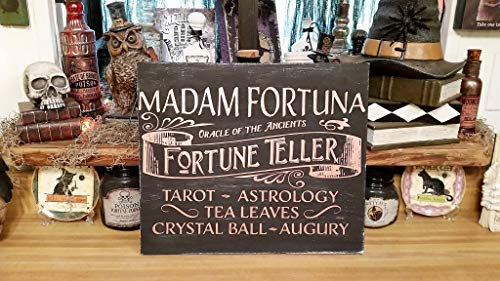 Funlaugh Wood Halloween Sign Halloween Sign Halloween Sign Fortune Teller Sign Magic Sign Tarot Fortune Teller Witch Sign Halloween Bedroom Wood Sign with Sayings Home Decor Plaque -