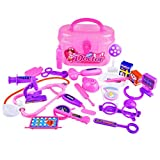 Winkey Toy for 3 4 5 6 7 8 9 + Years Old Kids Girls Boys, 23 Pcs Play Doctor Pretend Medical Set Case Educational Role Play Gift For Kid (Pink)