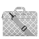 MOSISO Laptop Shoulder Bag Compatible with 15-15.6 inch MacBook Pro, Ultrabook Netbook Tablet, Canvas Geometric Pattern Protective Briefcase Carrying Handbag Sleeve Case Cover, Gray Quatrefoil