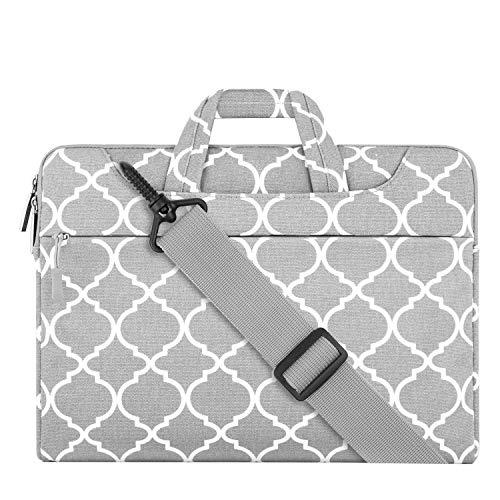 MOSISO Laptop Shoulder Bag Compatible 15-15.6 Inch MacBook Pro, Ultrabook Netbook Tablet, Canvas Geometric Pattern Protective Briefcase Carrying Handbag Sleeve Case Cover, Gray Quatrefoil