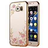 Samsung Galaxy S7 Gel Case, KrygerShield® - Super Slim Clear TPU Cover, Pink Flower & Diamond Encrusted Pattern - Gold